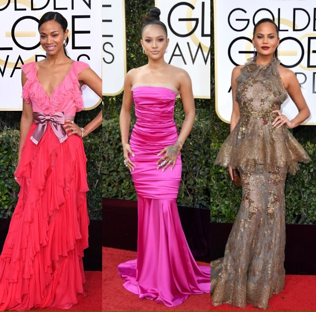 Zoe Saldana, Karrueche Tran, Chriss Teigen at the Golden Globes Awards 2017