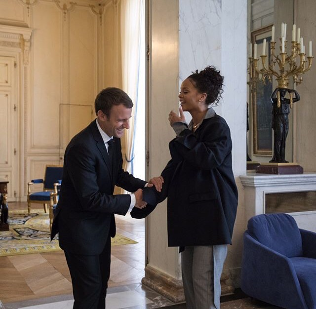 Rihanna and French President Emmanuel Macron